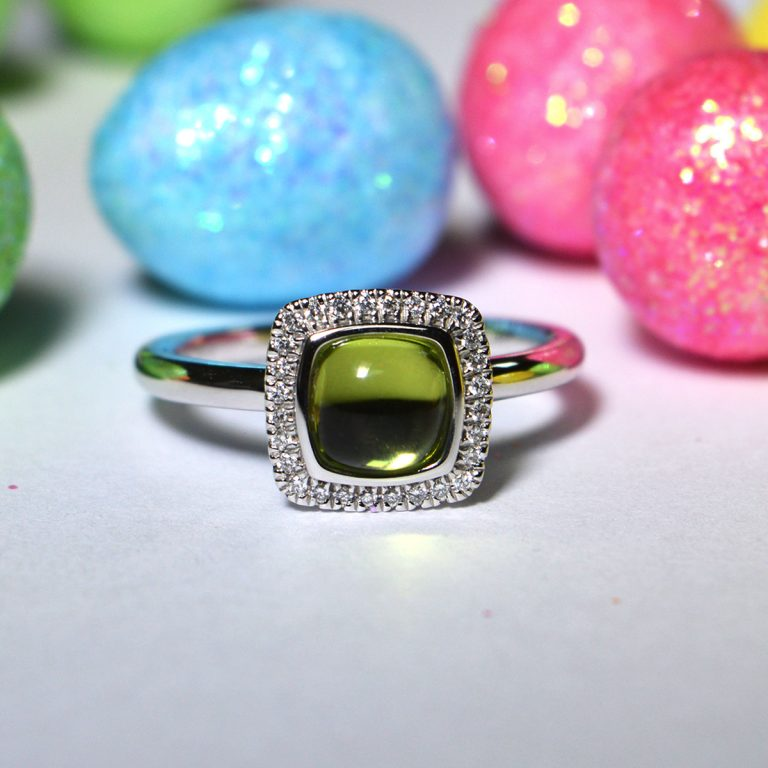 Peridot and Diamond Cluster Ring in White Gold