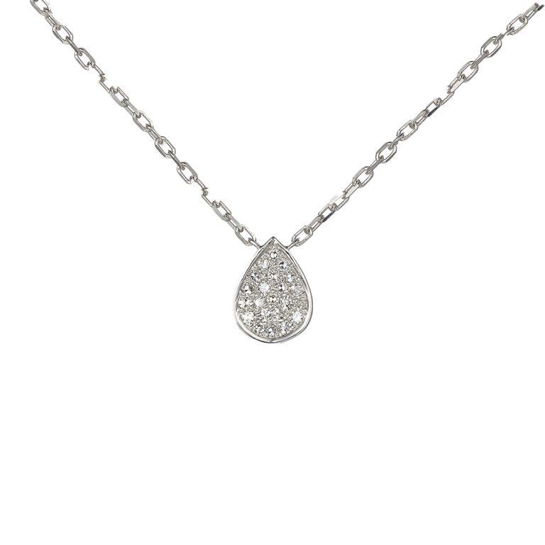 White Gold Pave Diamond Pear Shaped Pendant