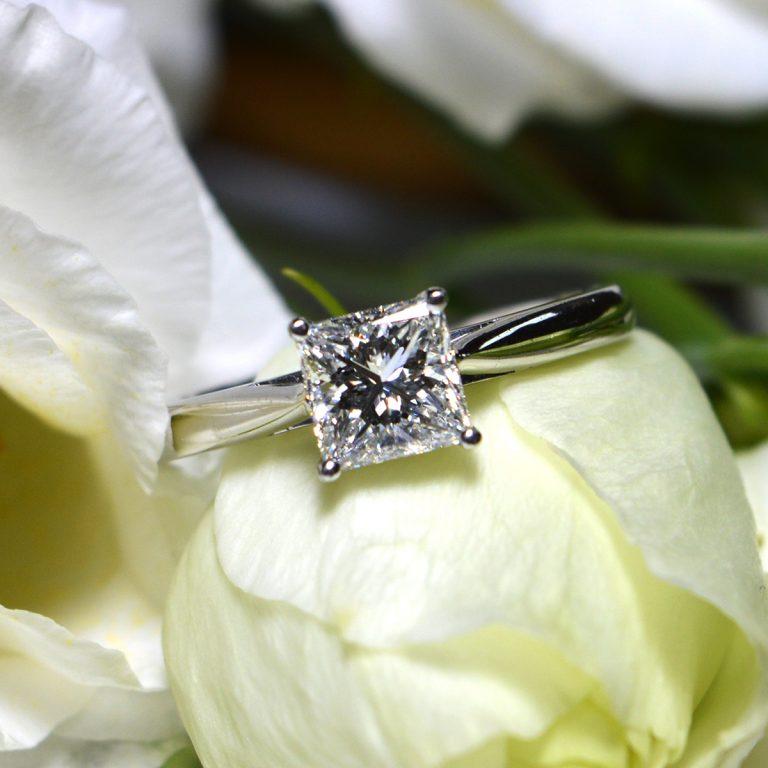 Platinum E Colour Princess Cut Diamond Ring