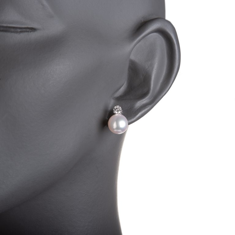 Pearl and Diamond Earrings in White Gold