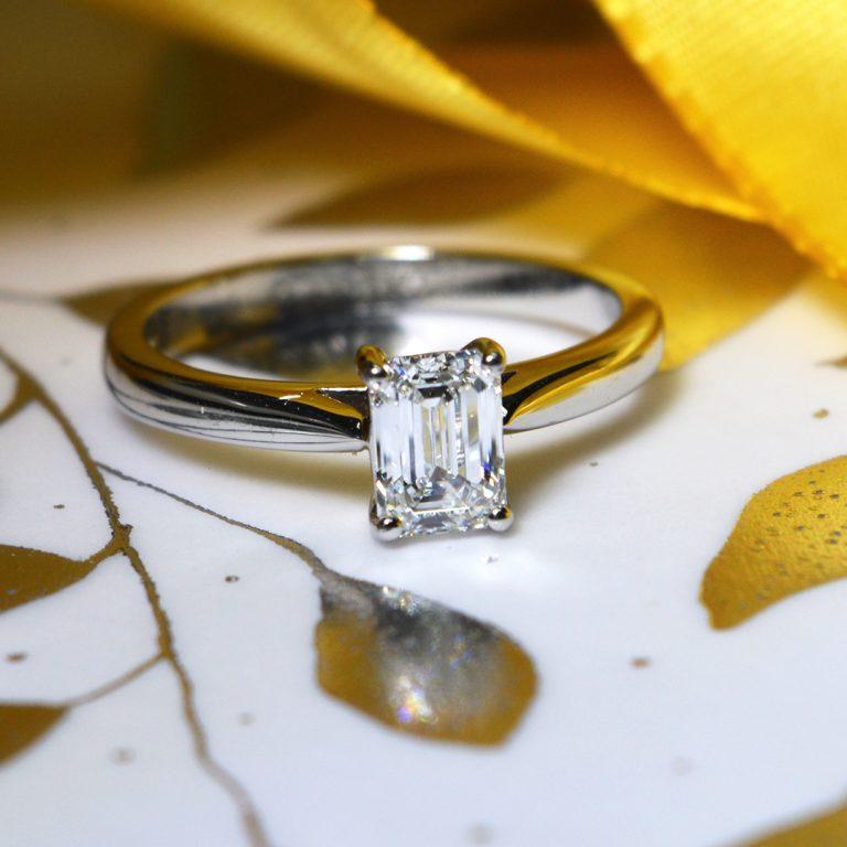 Platinum E Colour Emerald Cut Diamond Ring