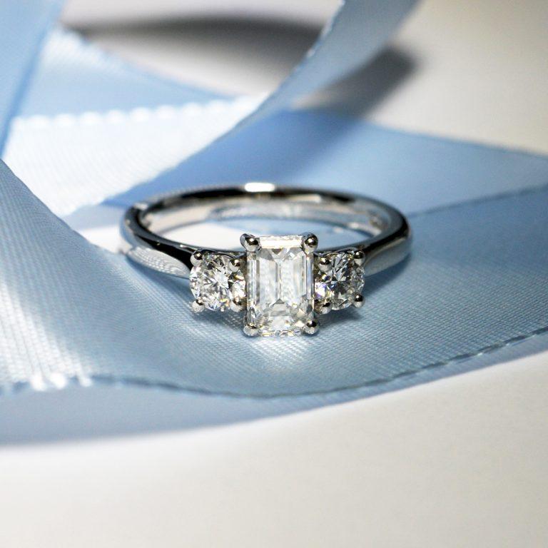 Emerald Cut Diamonds 3-Stone Engagement Ring