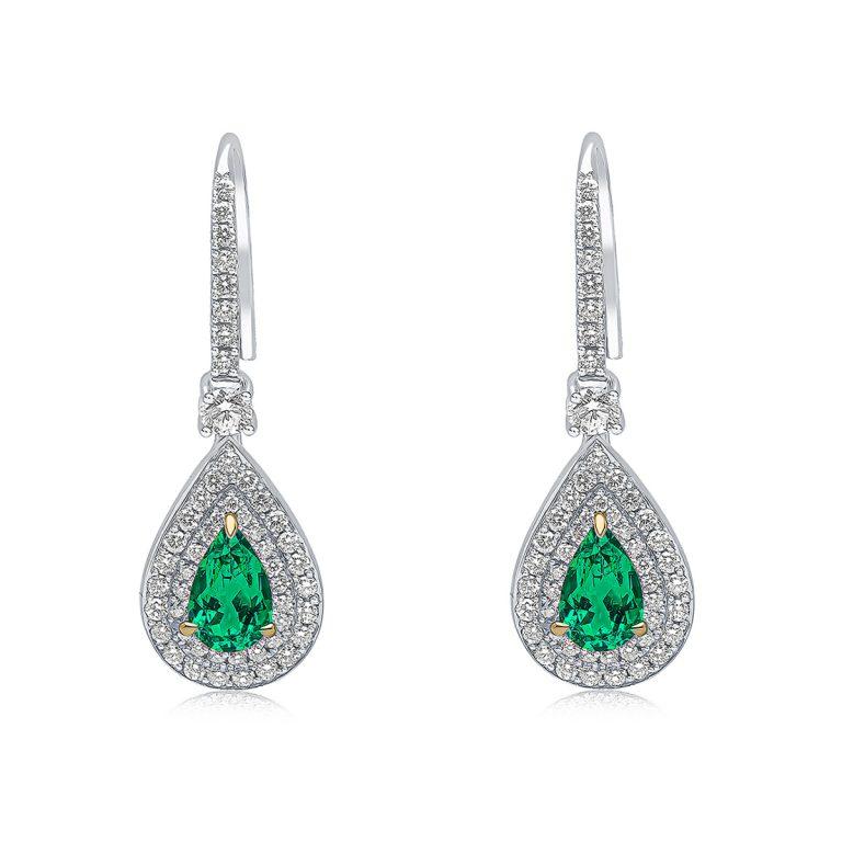 emerald and diamond drop earrings 3