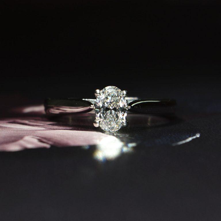 Platinum Oval Diamond Single Stone Engagement Ring