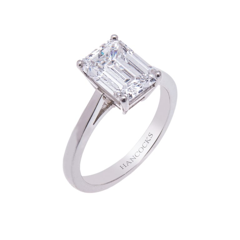 platinum emerald cut diamond single stone engagement ring HE 4 (3)