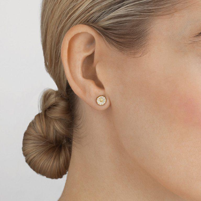 OnModel__10018924 daisy earrings silver white enamel 7mm