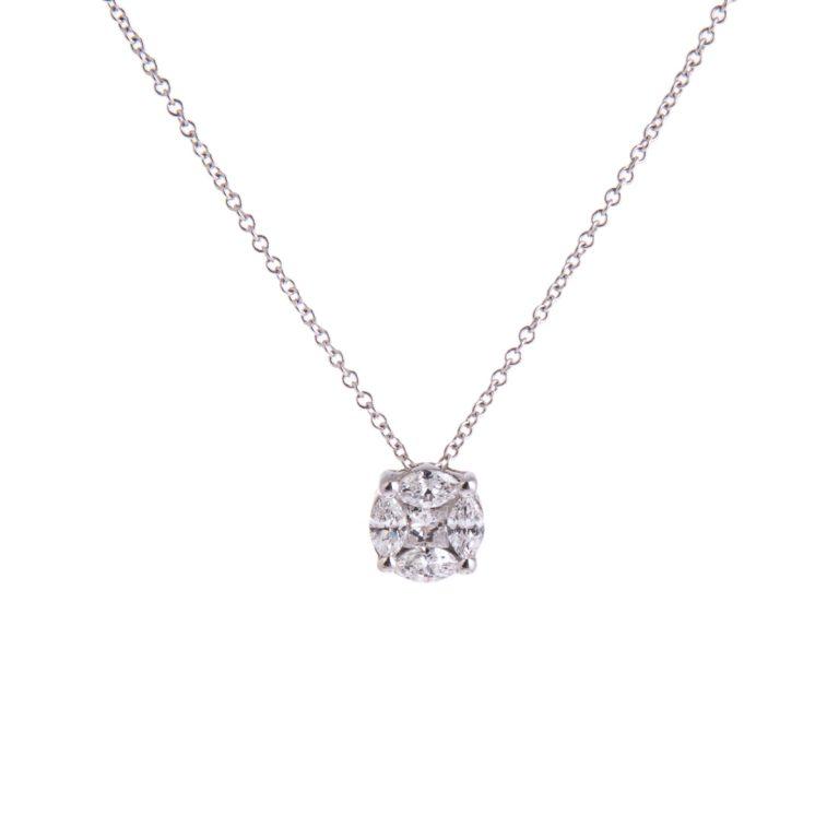 Multi Stone Diamond Pendant in White Gold