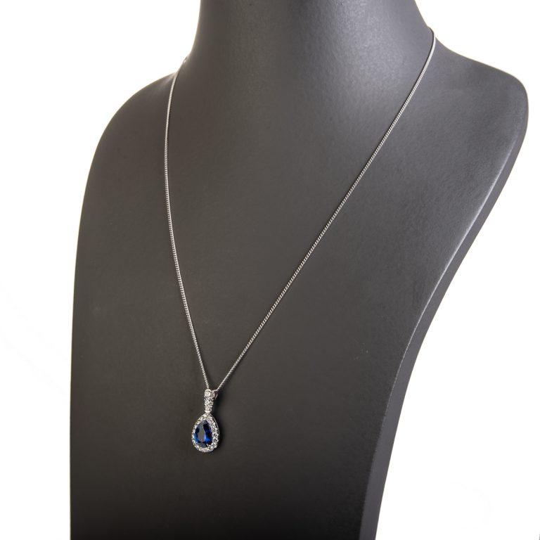 18ct Sapphire and Diamond Halo Pendant