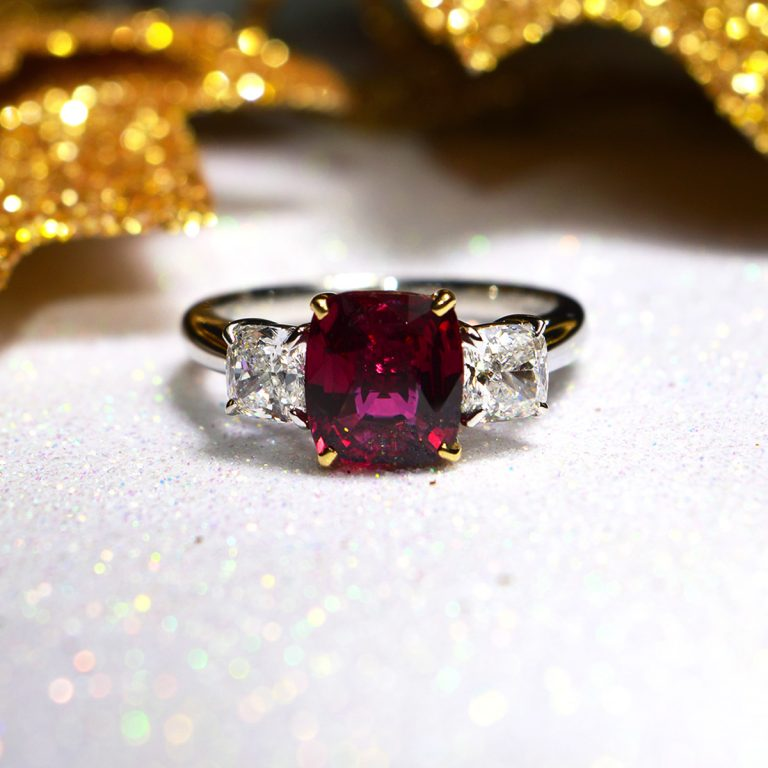 Cushion Cut Ruby and Diamond 3- Stone Ring