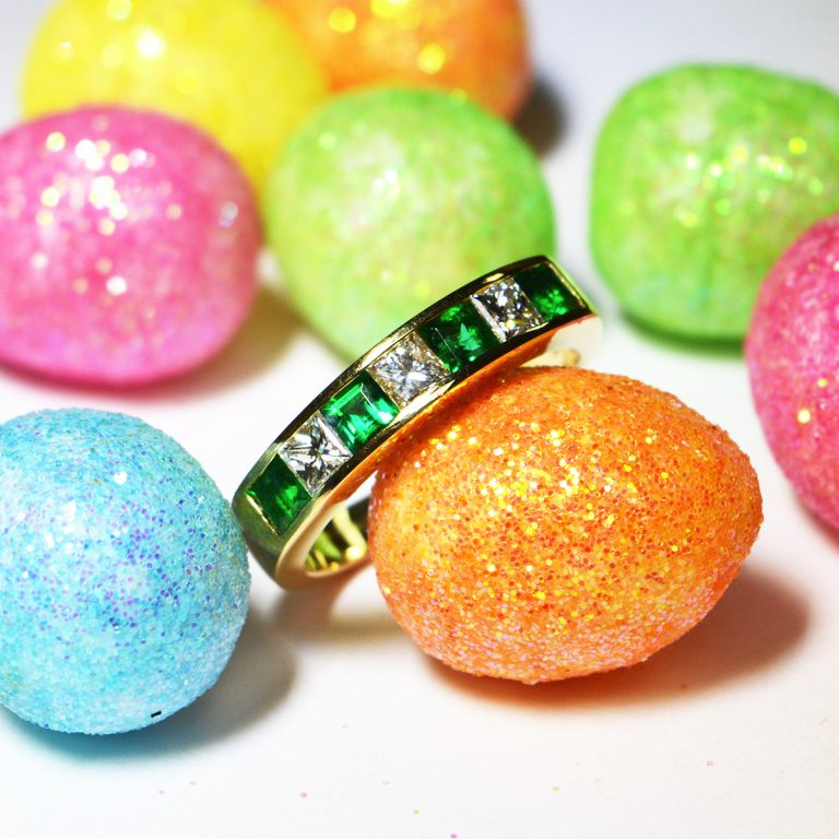 Yellow Gold Emerald and Diamond Eternity Ring