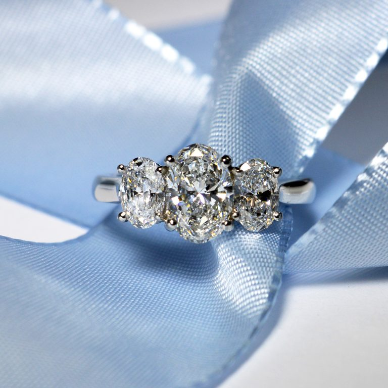 All Oval Diamonds 3-Stone Engagement Ring