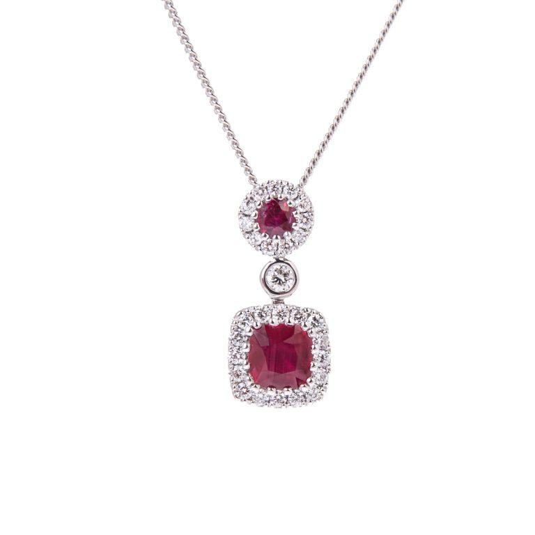 Ruby and Diamond Double Drop Pendant