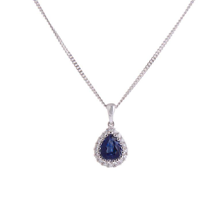 Sapphire and Diamond Pear Shaped Halo Pendant