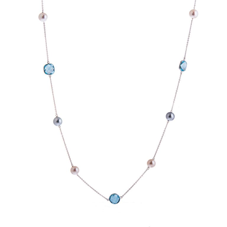 Long Pearl Necklace set with Blue Topaz