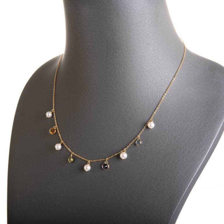 Pearl Necklace set with Multi Gemstone Drops