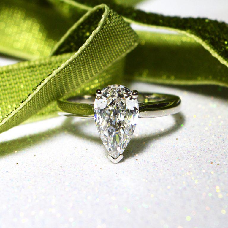 Platinum 1.52ct Pear Cut Diamond Ring