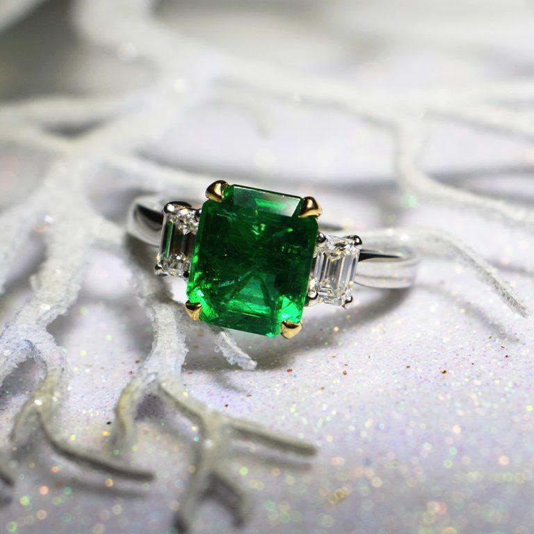 Platinum Emerald and Diamond 3-Stone Ring