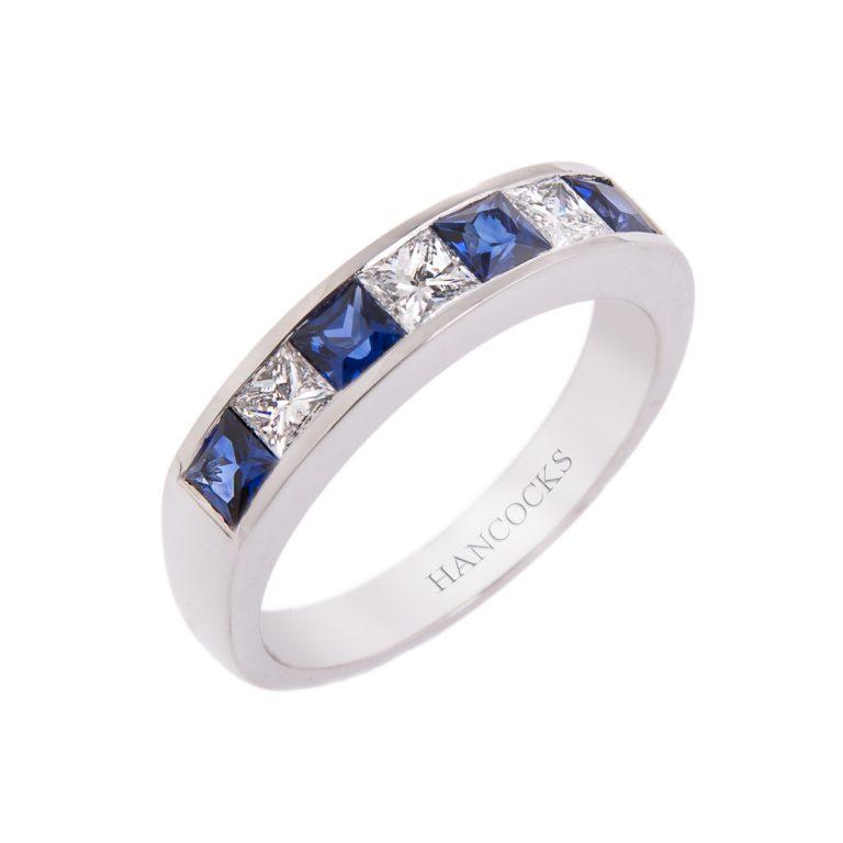 Sapphire and Diamond 7-Stone Eternity Ring