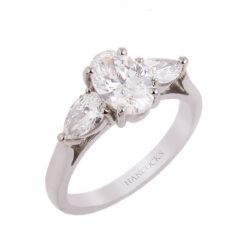 Platinum Oval Cut Diamond 3-Stone Ring