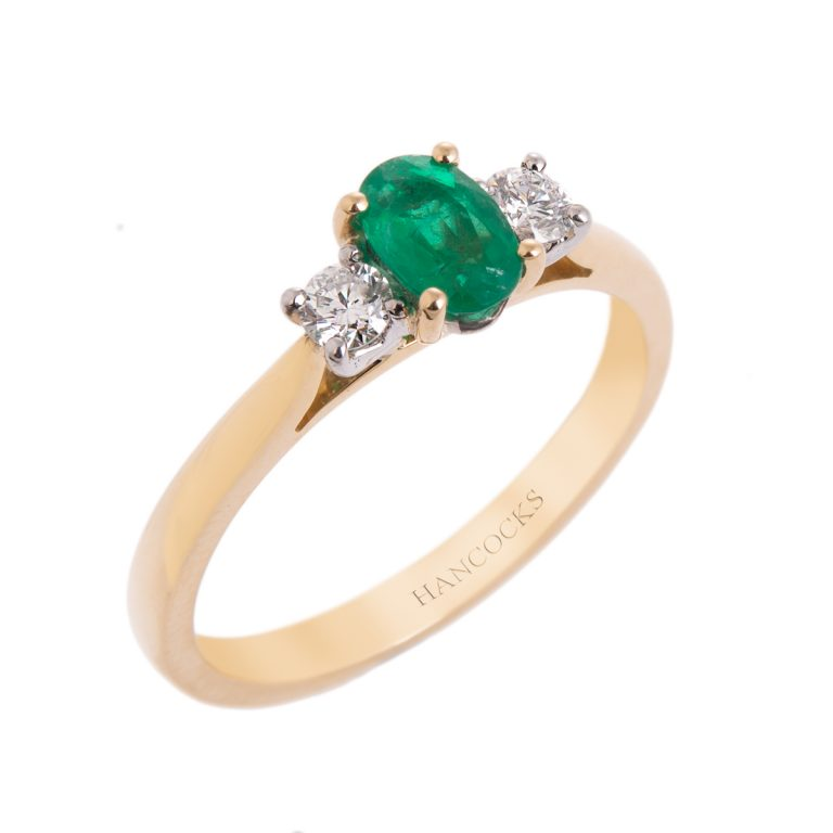 18ct Gold Emerald and Diamond 3-Stone