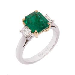 emerald-cut-emerald-and-diamond-ring