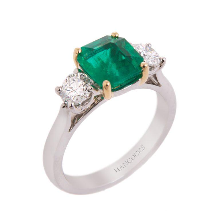 Cushion Emerald and Diamond 3-Stone Ring