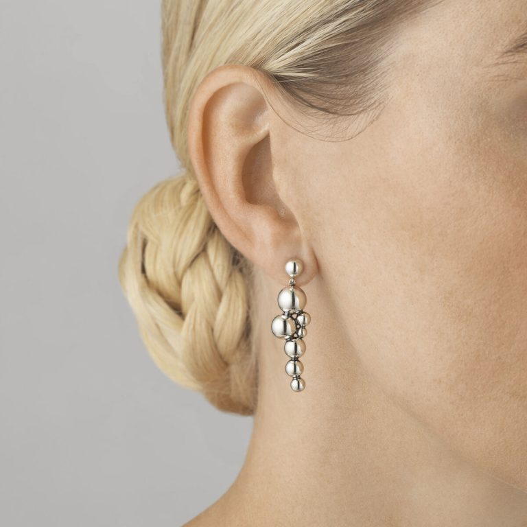 Moonlight Grapes Oxidised Silver Drop Earrings