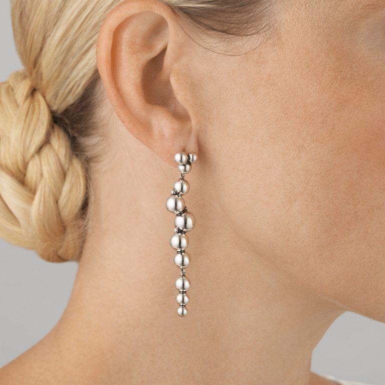 Moonlight Grapes Silver Drop Earrings
