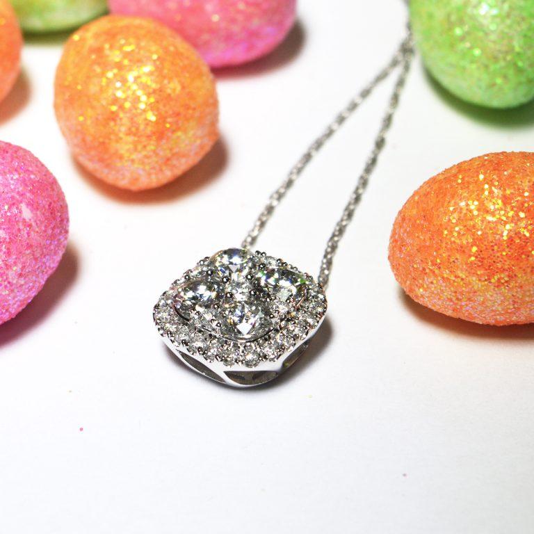 14ct Multi Stone Diamond Halo Set Pendant