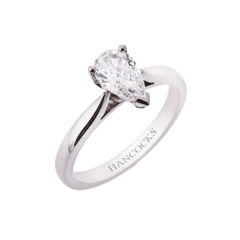 Platinum Single Stone Pear cut diamond ring