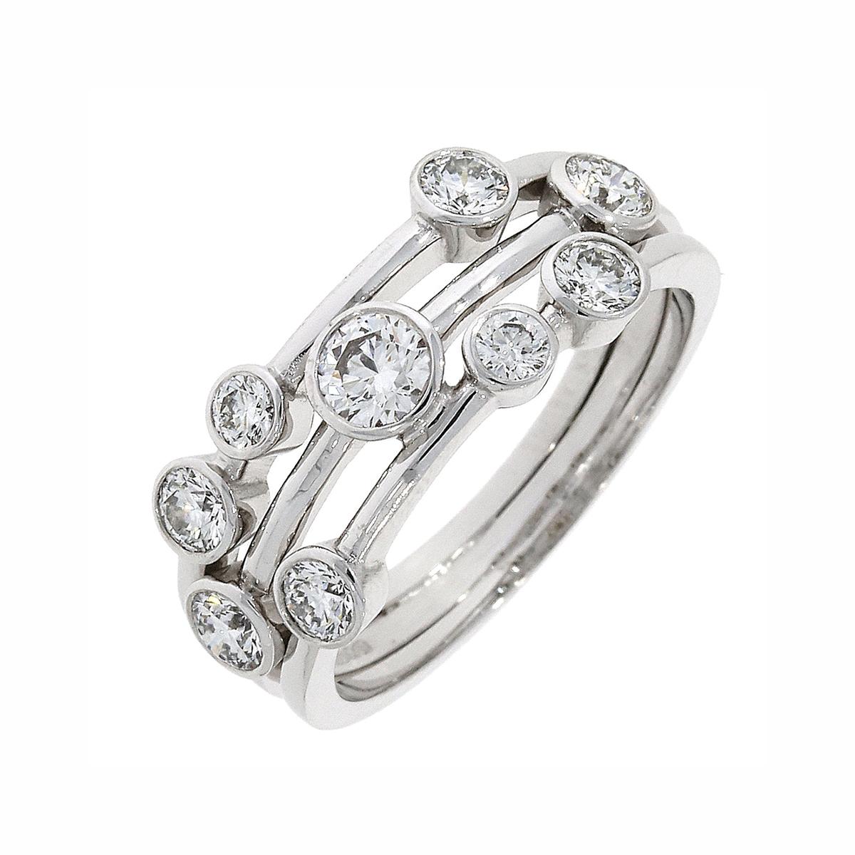 18ct White Gold 3-Row Diamond Bubble Ring