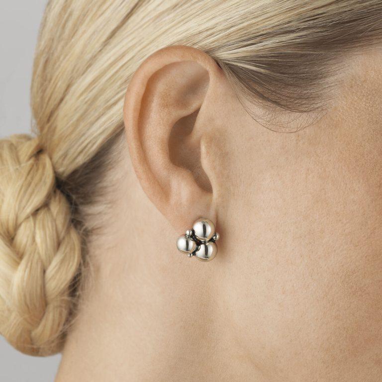 Moonlight Grapes Silver Stud Earrings