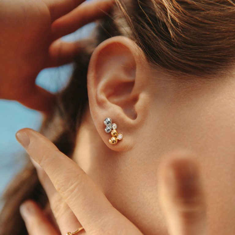 Moonlight Grapes Yellow Gold Diamond Studs
