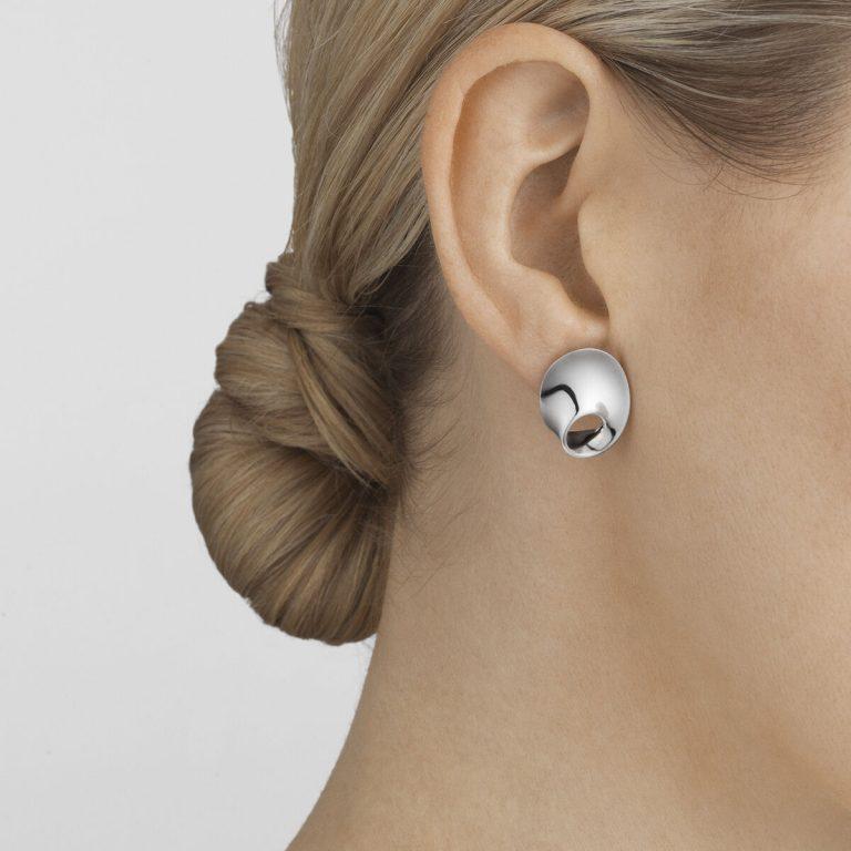 Georg Jensen sterling silver Mobius ear studs