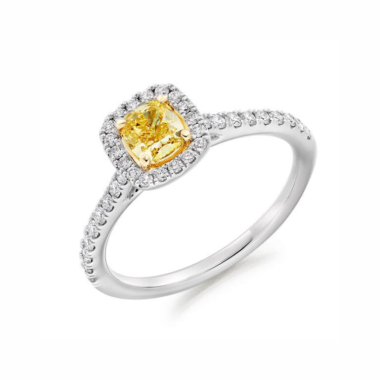Cushion Cut Yellow Diamond Halo Cluster Ring