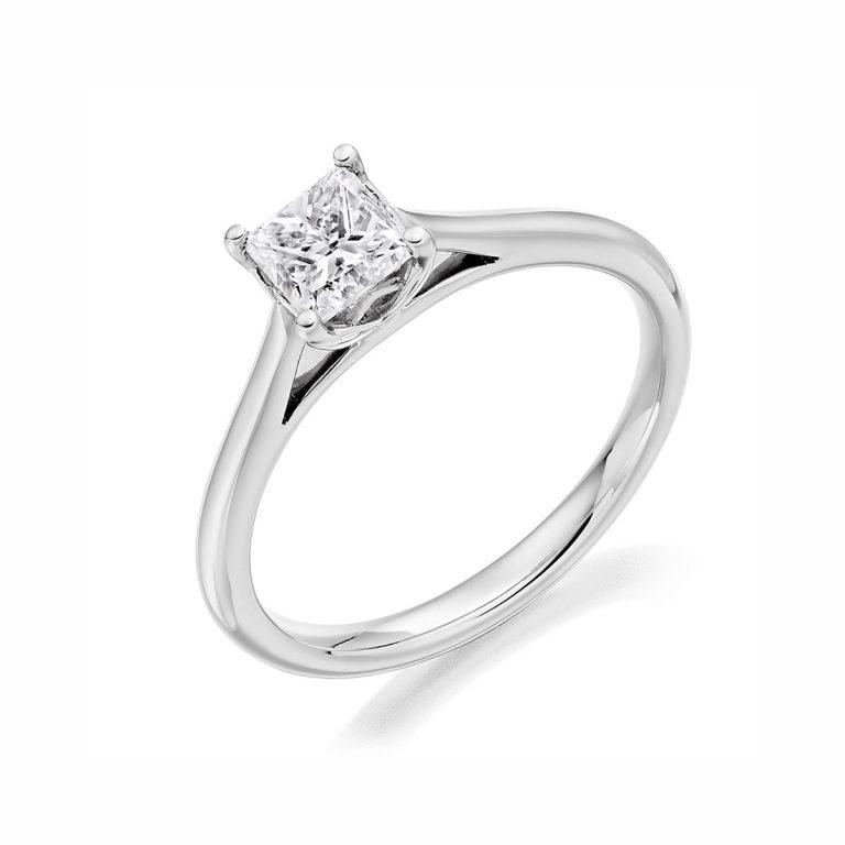 Platinum Princess Cut Diamond Single Stone Ring