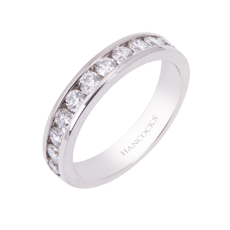 Platinum Channel Set Diamond Wedding Ring