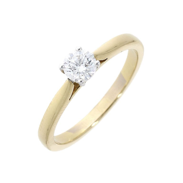Yellow Gold Brilliant Cut Diamond Single Stone Ring