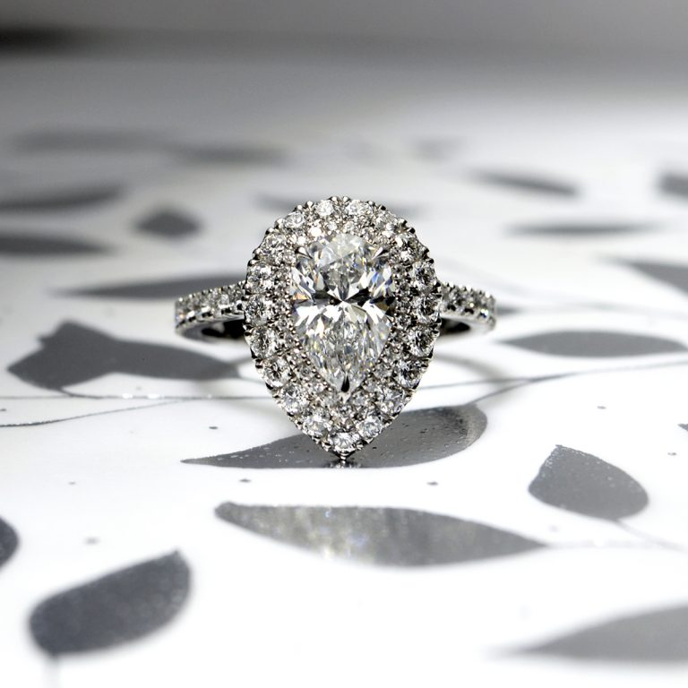 Halo Set Pear cut Diamond Engagement Ring