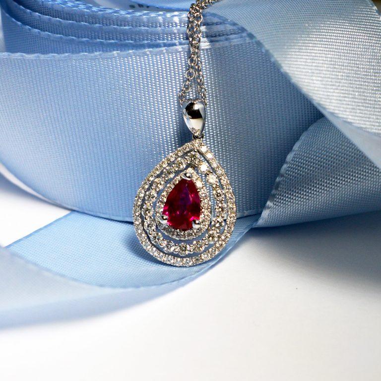 White Gold Triple Halo Ruby and Diamond Pendant