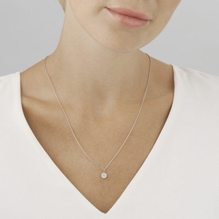 DAISY White Enamel Pendant, Small