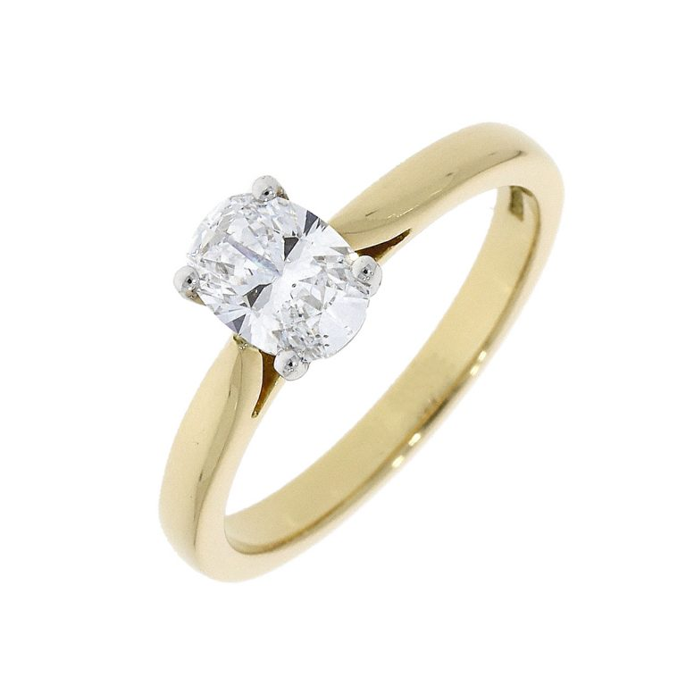 Oval Cut Diamond Ring in Yellow Gold