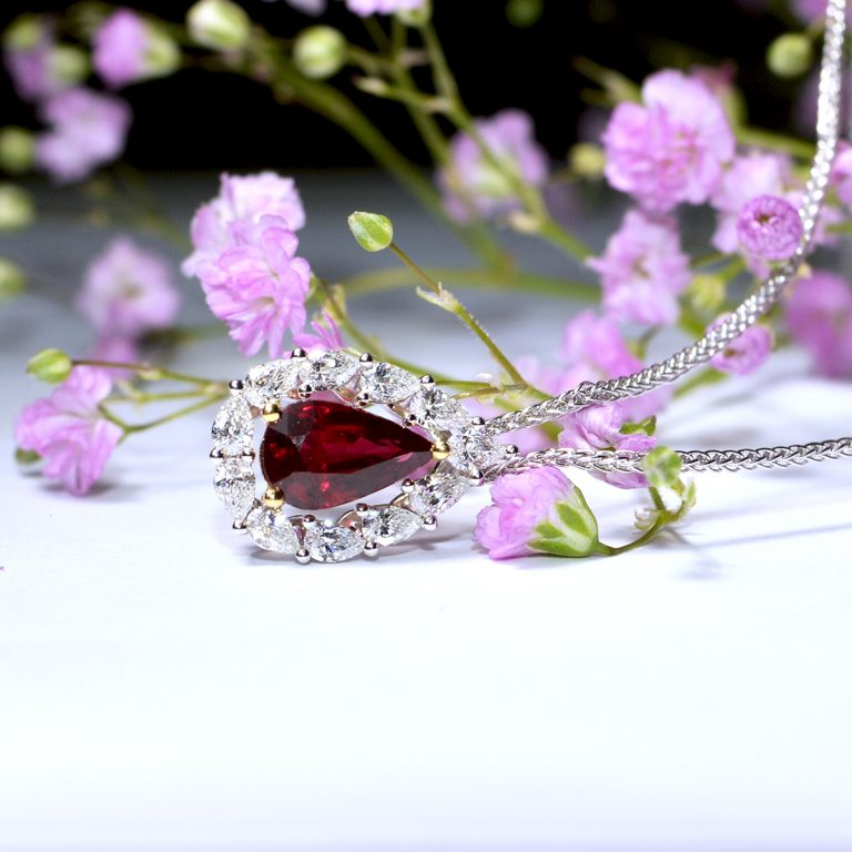 Pear Cut Ruby and Diamond Cluster Pendant