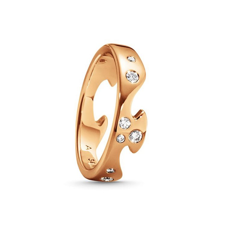 Georg Jensen Rose Gold Fusion Ring with diamonds