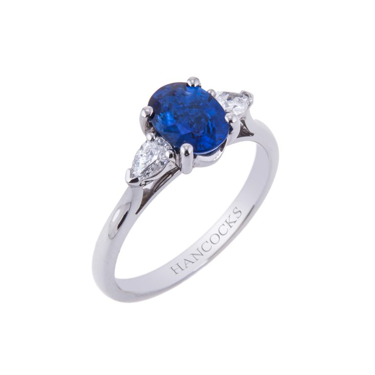Oval Sapphire Ring with Pear Cut Diamonds
