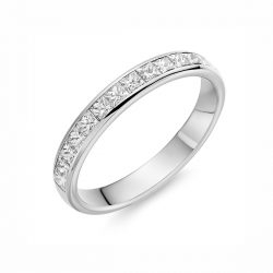 83Z13 platinum princess cut diamond set wedding ring