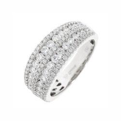 B1298 multi row diamond set band ring