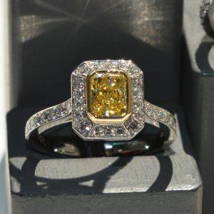 intense-yellow-diamond-halo-set-vintage-cluster-ring