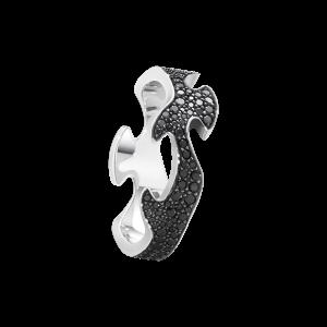 georg jensen fusion 18 carat white gold and black diamond centre ring
