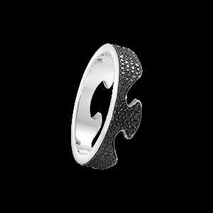 georg jensen fusion black pave' diamond set end ring